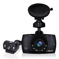 32GB Dash Cam with Dual Lens, loop recording and auto-startup.