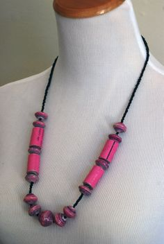 African Paper Bead Necklace / Pink / Upcycled Jewelry