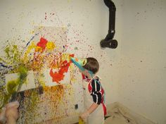 the perfect party.  Splatter painting