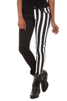 Royal Bones Split Leg Black And White Stripe Skinny Jeans