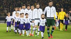 Spurs captain Hugo Lloris leads the players out ahead of the kick-off in their Europa League tie in Dortmund