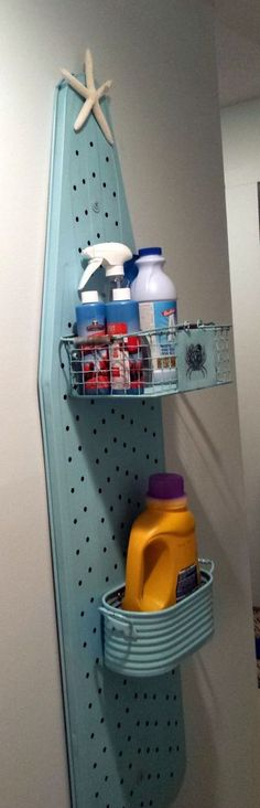 Upcycled ironing board/laundry center