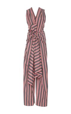 Striped Cotton Bow Front Jumpsuit by TOME Now Available on Moda Operandi