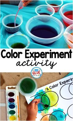 Kids learn best through doing so I always enjoy this hands-on color experiment… Preschool Colors, Teaching Colors, Teaching Art, Preschool Crafts, Kindergarten Science, Science For Kids, Color Activities For Kindergarten, Hands On Learning Kindergarten, Kindergarten Projects
