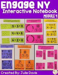 "This is an interactive notebook used to supplement the Engage NY Kindergarten Math Curriculum. There is one interactive activity for each of the 41 lessons in Module 4. Each activity includes an ""I Can"" statement. The only materials that are needed to use this resource are a notebook and classroom supplies. These activities can be used in centers, independently, or as a whole group. This module focuses on number bonds, addition, subtraction, sentences, and composing and decomposing numbers…"