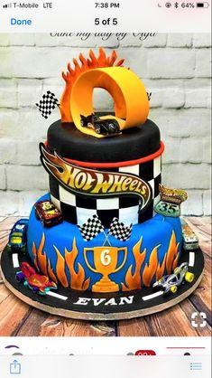 Happy Birthday To A 5 Year Old Boy Hot Wheels Cake