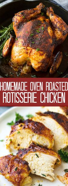 This Homemade Oven Roasted Rotisserie Chicken is super easy to make, great for a Sunday dinner, or for meal prep to use throughout the week!