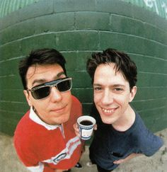 John Flansburgh and John Linnell of They Might Be Giants (Photo by Dennis Kleiman) Band Photos, Rock Music, My Boys, Hue, Musicians, Singer, Chair, People, Rock