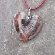 Large Agate heart pendant necklace   by NaturesArtMelbourne