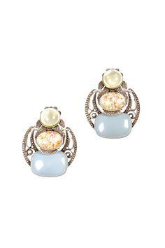 Pale Dangle Clip Earrings