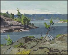 """""""Sturgeon Bay,"""" Alfred Joseph (A.) Casson, oil on board, 12 x private collection. Canadian Painters, Canadian Artists, Landscape Art, Landscape Paintings, Ottawa Art Gallery, Group Of Seven Paintings, Tom Thomson Paintings, Acrylic Painting Inspiration, Most Famous Artists"""