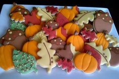Fabulous Fall Decorated Sugar Cookies by DolceDesserts on Etsy Cupcakes, Cupcake Cookies, Sugar Cookies, Thanksgiving Cookies, Fall Cookies, Fall Treats, Holiday Treats, Fall Recipes, Holiday Recipes