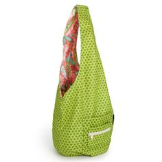 Green Designer Sling Bag.  Laminate lining makes it a great bag for shopping, yoga, gym, farmer's market,and more. $72.00