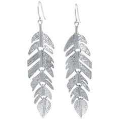 Belk Silverworks Silver Textured Feather Drop Earring In Fine Silver... ($21) ❤ liked on Polyvore featuring jewelry, earrings, silver, silver jewellery, silver plating jewelry, silver plated jewelry, silver plated earrings and feather earrings