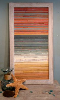 Solo cuadro. Coastal Sunset Reclaimed Wood Art por skythirty en Etsy