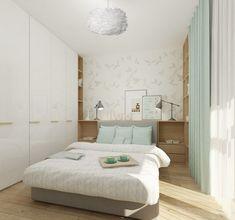 Kleines Schlafzimmer in weiß, mintgrün und hellem Holz