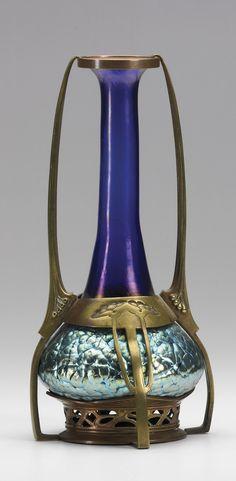 Loetz Art Nouveau Glass Vase Mounted In Metal Frame