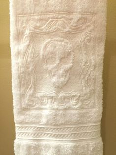 Your place to buy and sell all things handmade Skull Hand Towels set of 2 - embossed machine embroidered plush hand towels measuring Halloween, Day of the Dead, Sugar Skull Gothic House, Gothic Castle, Goth Home Decor, Skull Hand, Hand Towel Sets, Skull Design, Creepy, Skull And Bones, Day Of The Dead