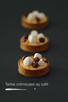 Creamy coffee pie by Christophe Adam. I would definitely trade my morning coffee for those! French Desserts, Just Desserts, Delicious Desserts, Dessert Recipes, Yummy Food, Patisserie Fine, Cupcakes, Eclairs, French Pastries