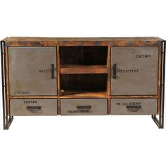 Functional and industrial inspired, this entertainment center is fabulous for a living room or bedroom.