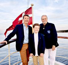 The Danish Royal Family: THREE GENERATIONS: Yesterday evening, Prince Consort Henrik held a reception on the royal yacht, the Dannebrog, for those who participated in the 2016 Dragon Gold Cup sailing race. Two of those contestants, were his son Crown Prince Frederik and grandson, Prince Christian who competed in the race on their boat, the Nanoq. It seems that a love for sailing runs in the family as Prince Henrik also shares a great interest in boating!
