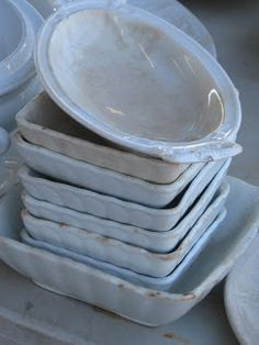 Square Vintage Ironstone Bowls -  Scarlett Scales Antiques:  Some of the cutest ironstone ever