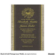 Black & Gold Vintage Lace Wedding Invitations