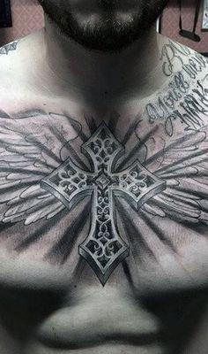 << Check out more Cross tattoos #tattoomenow #tattooideas #tattoodesigns #tattoos #cross #religious #christian Cool Chest Tattoos, Chest Tattoos For Women, Chest Piece Tattoos, Pieces Tattoo, Badass Tattoos, Arm Tattoos For Guys, New Tattoos, Tribal Tattoos, Cool Tattoos