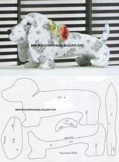 ARTESANATO COM QUIANE - Paps,Moldes,E.V.A,Feltro,Costuras,Fofuchas 3D: Molde cachorrinho de tecido para enfeite ou peso de porta