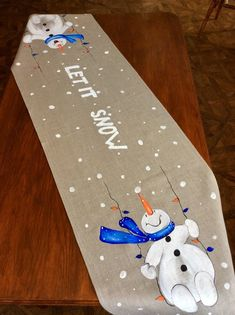 me ~ Snowman Hand-painted Table Runner Christmas Snowman Christmas Decorations, Snowman Crafts, Christmas Snowman, Christmas Ornaments, Xmas, Table Runner Christmas, Winter Table, Christmas Sewing, Christmas Paintings