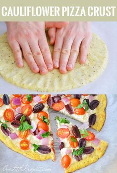 This recipe for cauliflower pizza crust tastes amazing! You can even pick it up like a regular pizza slice.