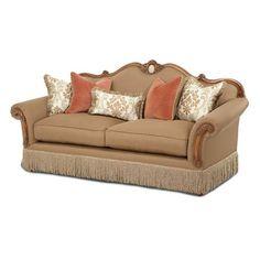Have to have it. Aico Cortina Wood Trim Camelback Sofa - Honey Walnut $1959