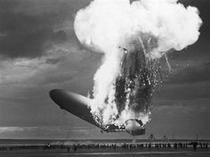 The Hindenburg in flames on its arrival at Lakehurst, New Jersey May 6, 1937