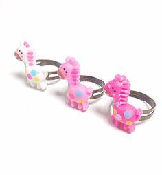 Giraffe ring pink and white giraffe ring animal by PokeysWorld