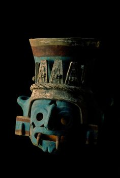 Tenochtitlan, Templo Mayor, Copyright:Kenneth Garrett Aztec, Mexico, Mexico City, Great Temple of the Aztecs, Tlaloc effigy, ceramic vessel, painted after firing .