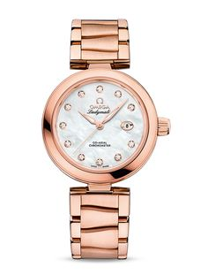 Omega 425.60.34.20.55.004 De Ville Ladies Ladymatic Co-Axial 34 mm Sedna  - швейцарские женские наручные часы - белые, золотые часы