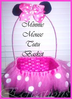 Minnie mouse Tutu basket by EcreationsTutique on Etsy, $20.00