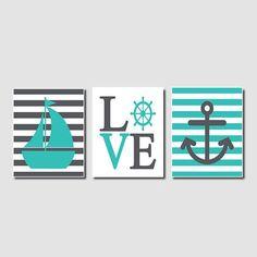 Nautical Wall Art Sailboat Love Anchor by LovelyFaceDesigns