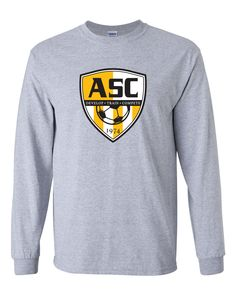Altoona Soccer Club | Badge Long Sleeve Tee | Front view | Sport Grey Soccer Fans, Badge, Long Sleeve Tees, Club, Grey, Sleeves, Sports, Cotton, Mens Tops