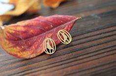 Cage Bird post earrings in gold / silver birds earrings by Joowel, $14.75