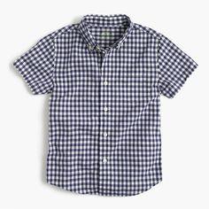 498b2137a6a4 crewcuts Boys Short-Sleeve Secret Wash Shirt In Gingham (Size Boys Shirts,  Boys