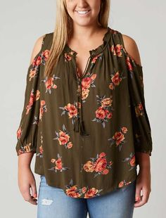 4c9417199ca Daytrip Cold Shoulder Top - Plus Size Only - Women s Shirts Blouses in  Olive