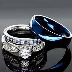 Awesome His And Hers 925 Sterling Silver Blue Saphire Stainless Steel Wedding Rings Set