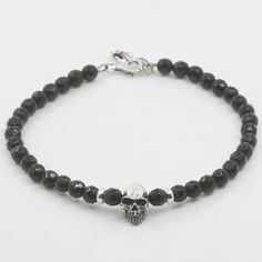 6mm faceted beaded bracelet sterling silver 925 skull handmade | mansondavid -  on ArtFire