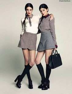 Kendall + Kylie Jenner don schoolgirl chic in Marie Claire Mexico's March 2014 issue, shot by Vladimir Marti
