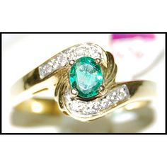 http://rubies.work/0590-emerald-rings/ Diamond Natural 18K Yellow Gold Solitaire Emerald by BKGjewels