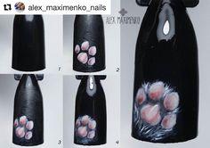 Cat Nail Art, Animal Nail Art, Cat Nails, Acrylic Nail Art, Dream Nails, Love Nails, Color For Nails, Pretty Nail Art, Black Nails