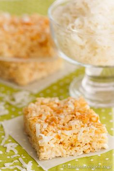Making these right now! Marshmallow Coconut Rice Krispies treats - made with coconut oil instead of butter