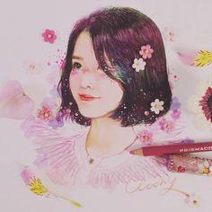 Fan art of lee ji-eun (이지은) also known mononymously as iu (아이유). Kpop Drawings, Art Drawings, Mamamoo, Poses References, Kpop Fanart, Korean Artist, People Art, Anime Art Girl, Art Sketchbook
