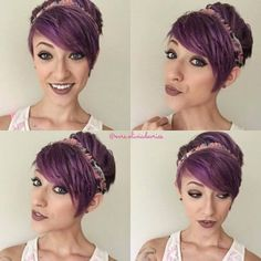 layered pixie cut purple hair